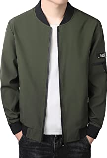 Sponsored Ad - FoxQ Mens Lightweight Flight Bomber Jackets Slim Fit Spring Fall Thin Casual Coat Softshell Windbreaker Ela...