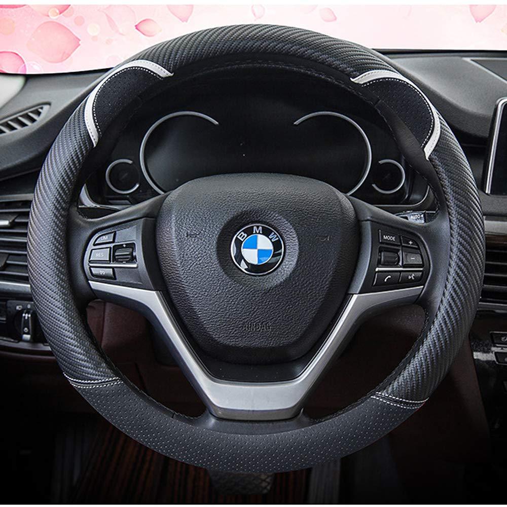 KAFEEK Diamond Leather Steering Wheel Cover with Bling Bling Crystal Rhinestones Black Microfiber Leather White Diamond. Universal 15 inch Anti-Slip