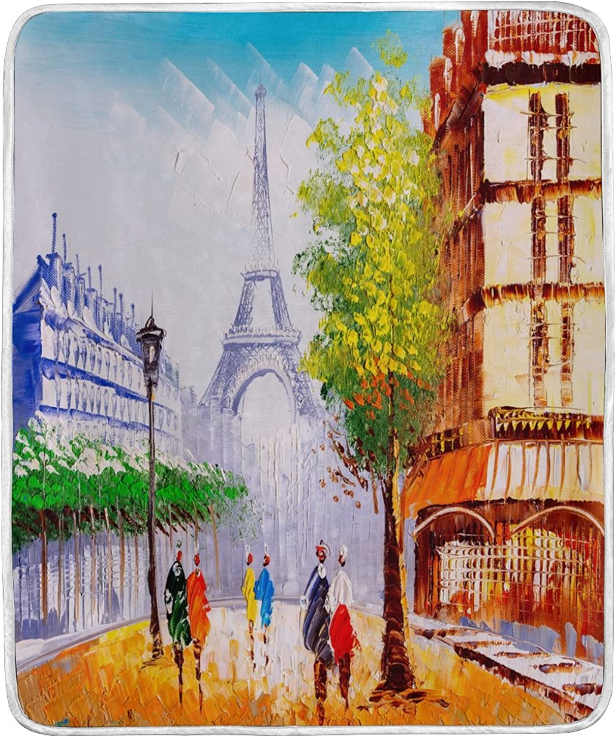ALAZA Home Decor Street of Paris Eiffel Tower Oil Painting Blanket Soft Warm Blankets for Bed Couch Sofa Lightweight Travelling Camping 60 x 50 inch Throw Size for Kids Boys Women