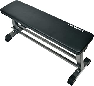 Flat Weight Bench by OVERDRIVE for Home Gym Fitness and Strength Training Weight Bench Press