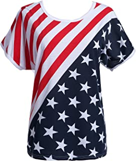 Taiduosheng Women's American Flag T Shirts 4th of July Plus Size Tee Shirt Stripe Star USA Patriotic Summer Blouse Tops