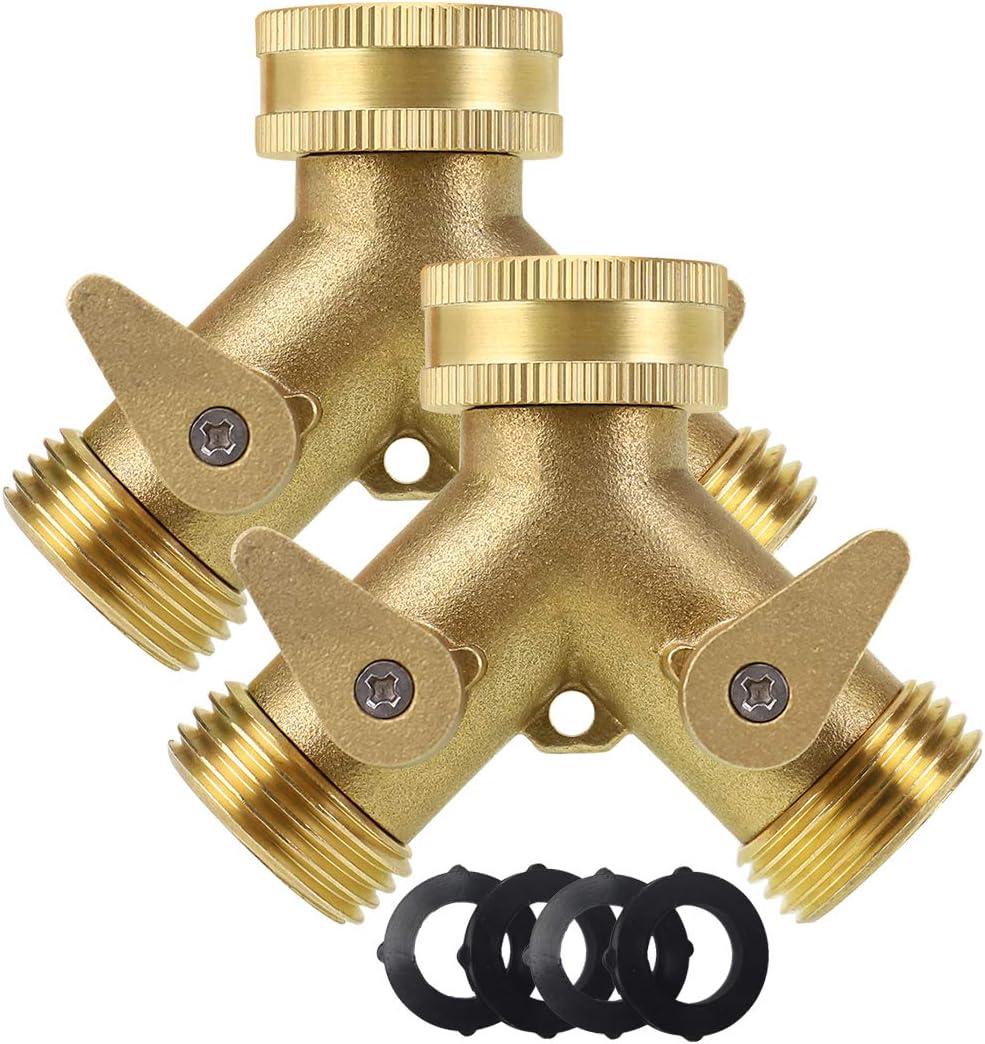Brass Garden Hose Splitter 2 Way, Heavy Duty Brass Hose Y Splitter, 3/4