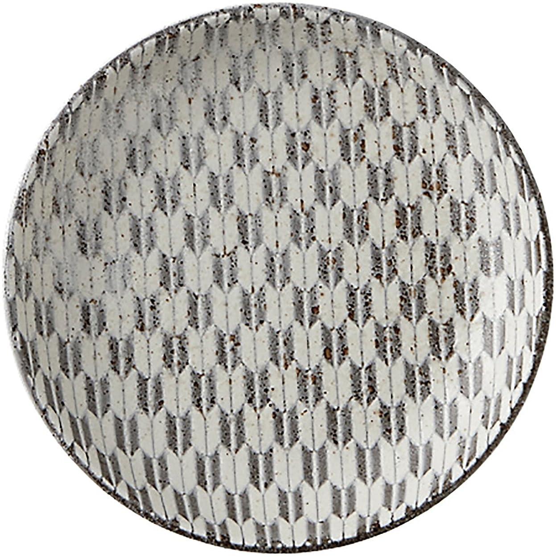 熟練した五努力光洋陶器 古代粉引き 丸皿 13cm 矢絣 52262009