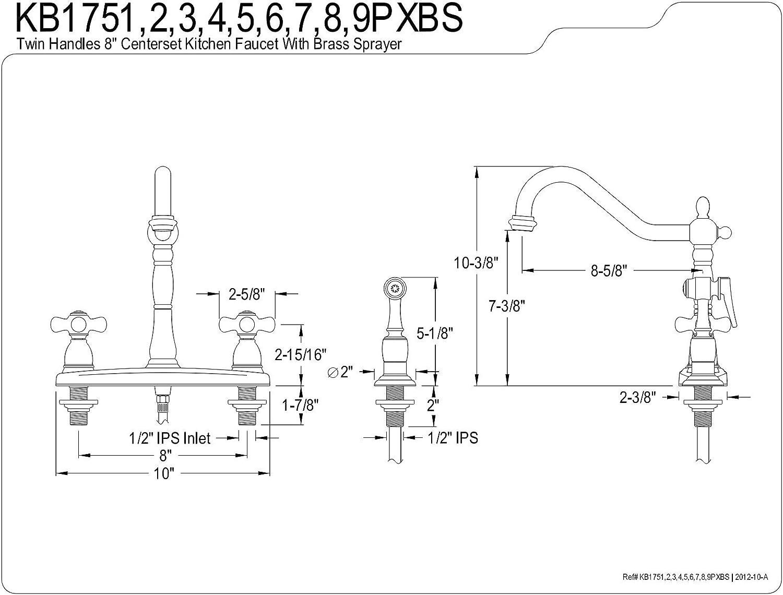 Brushed Nickel Kingston Brass KB1758PXBS Heritage 8-Inch Centerset Kitchen Faucet