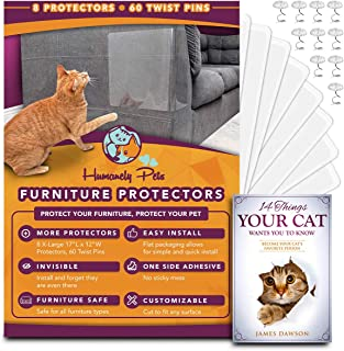 Humanely Pets Furniture Protectors from Cats 8 Pack - 17 x 12 Large Cat Scratch Couch Protector Set - Transparent Anti Scratching Sofa Protection Guards - Easy To Install Cat Training Deterrent Tape
