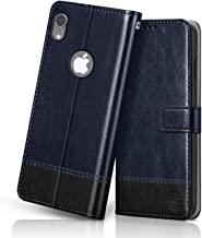 FLIPPED Vegan Leather Flip Case Back Cover for Apple iPhone XR Flexible Shock Proof Hand Stitched Leather Finish Card Pockets Wallet Stand Blue with Black