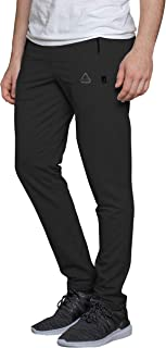 SCR SPORTSWEAR Men's Soccer Track Training Pants Athletic Sweatpants with Zipper Pockets Black Heather Grey Short Long Inseam