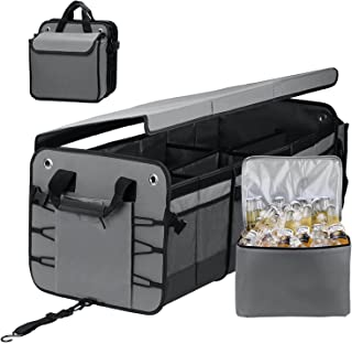 Large Trunk Organizer with Removable Cooler Bag-Collapsible Durable Multi Compartments w/ Foldable Cover & Adjustable Securing Straps, Non Slip Bottom Cargo Storage Suitable for Any Car, SUV, Truck, or Van(Gray)