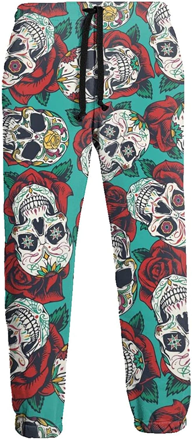 Men's Women's Sweatpants Mexican Roses Skull Athletic Running Pants Workout Jogger Sports Pant