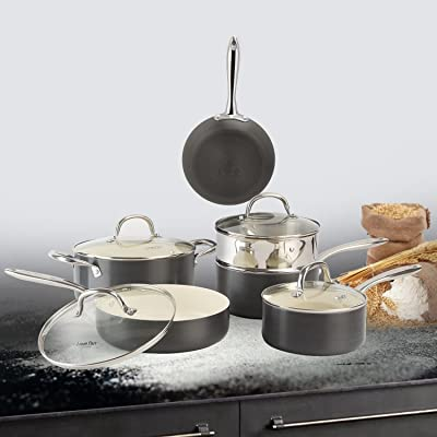 COOKSMARK Hard-Anodized Aluminum Cookware Set w...