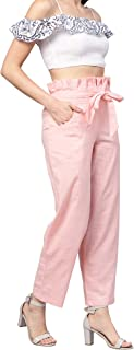 Idalia Women's Baby Pink Solid Cotton Trousers