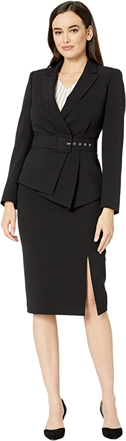 Pebble Crepe Skirt Suit with Draped Jacket