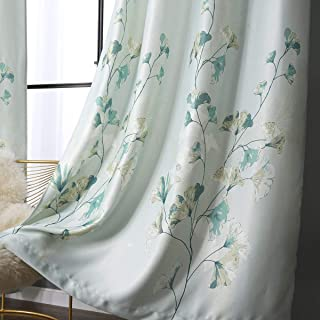 Taisier Home Ginkgo Leaves Printed Bedroom Darkening Curtains,Decorative Window Curtains for Living Room, Curtain Drapes Panels for Bedroom Hotel Living Room, 2 Panels, W52 x L84 inch,Blue Green
