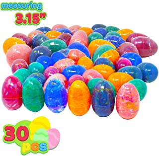30 PCs Painted Jumbo Easter Eggs for Kids Basket Stuffers Fillers, Easter Hunt Game, Toys Filling Treats and Easter Theme Party Favor