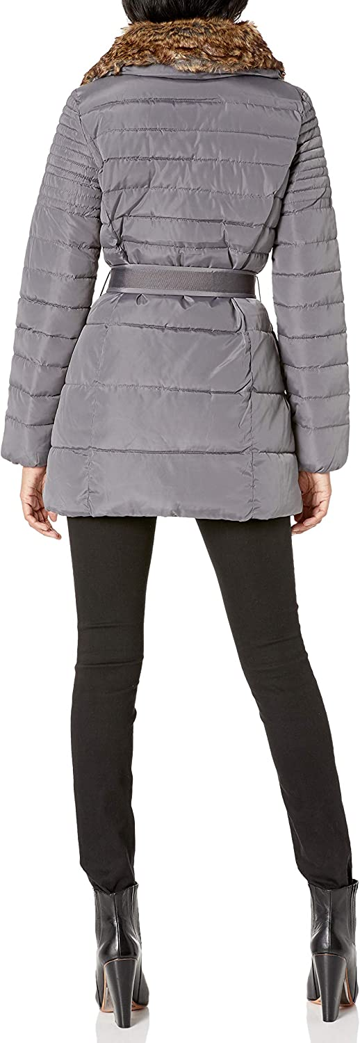 Nanette Lepore womens Belted Puffer Coat With Faux Fur Collar