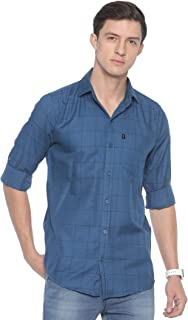 LEVIZO Men's Checkered 100% Cotton Casual Classic fit Full Sleeves Shirt Prussian Blue Size S