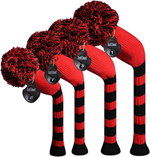 Scott Edward Dark Color Yarn Knitted Golf Club Head Covers Set of 4, Fit for Driver Wood(460cc), Fairway Wood,and Hyb...