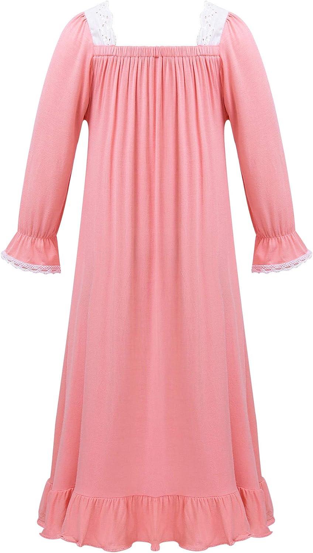 TiaoBug Kids Girls Nightgown Long Vintage Sleep Dress Princess Nighties Nightwear Cotton Pajamas
