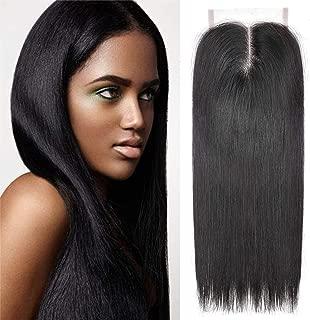 Ameli 4×4 Lace Closure Human Hair Closure Straight Closure Middle Part Closure Natural Black Brazilian Virgin Hair (8 inch)