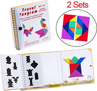 USATDD Tangram 360 Magnetic Puzzle Travel Games jigsaw with Solution Questions Kid Adult Challenge IQ Book Colorful Shapes Educational STEM Montessori Toy For Baby Toddlers Kids 3+ 【2 set of Tangrams】