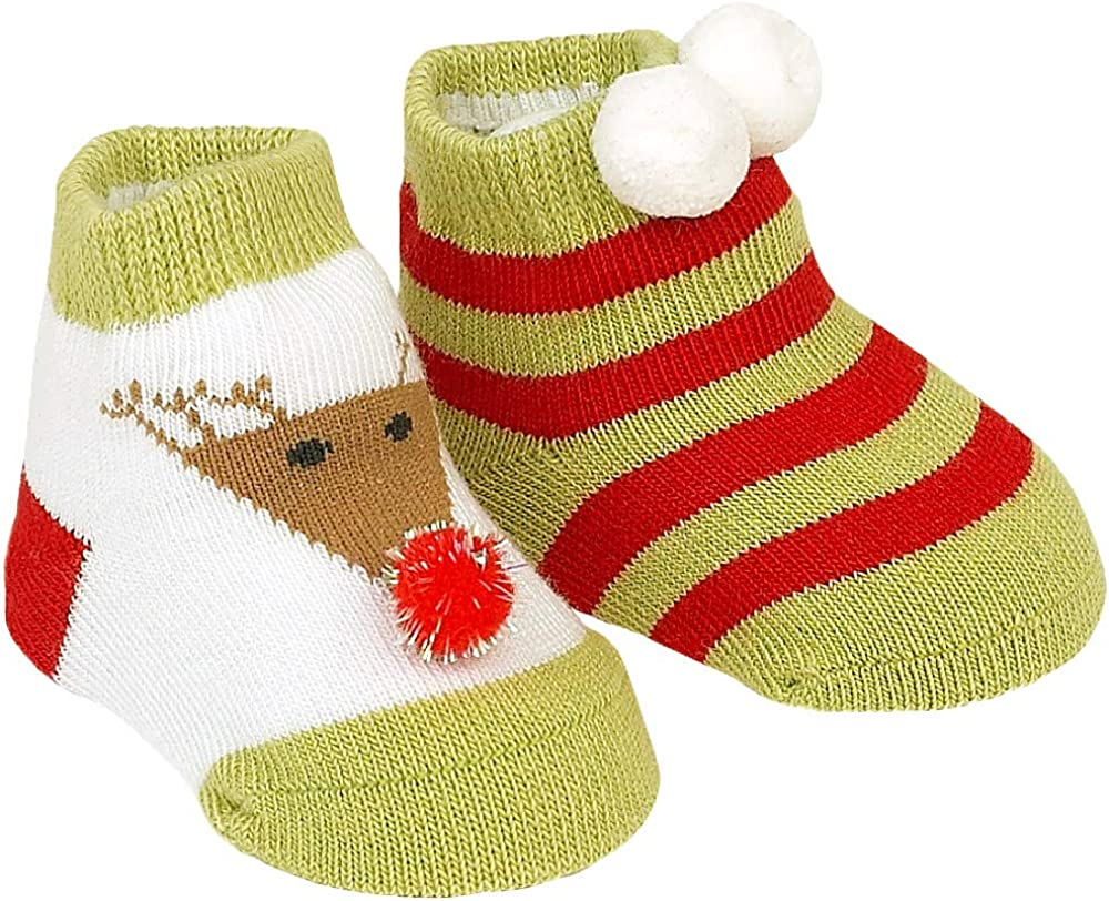 Country Kids Baby Girls' Cute Reindeer Snowball Christmas Holiday Stocking Socks, 2 Pair Gift Set