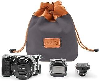 Calife耐水性巾着袋式カメラバッグ おしゃれなカメラポーチ 一眼レフカメラレンズケース デジタルカメラ/ミラーレス/一眼レフカメラ/アクセサリー収納可能 旅行/アウトドア用 Mサイズコンパクト Lサイズ大容量 かわいい (ブラック-サイズM)