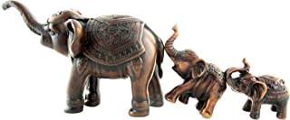Blue Orchid Mother and Baby Elephant Family Figurines Small Sculptures Feng Shui Decor Resin Set of 3 (Amber Brown)