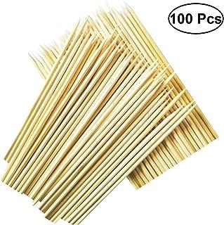 BESTONZON 100 unids Bbq de bambú Brochetas Palitos de asar de madera para barbacoa Kebabs Aperitivos Cócteles de frutas 3 mm x 25 cm