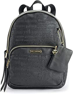 Juicy Couture Women's Faux-Leather Word Play Backpack with Coin Pouch - Black