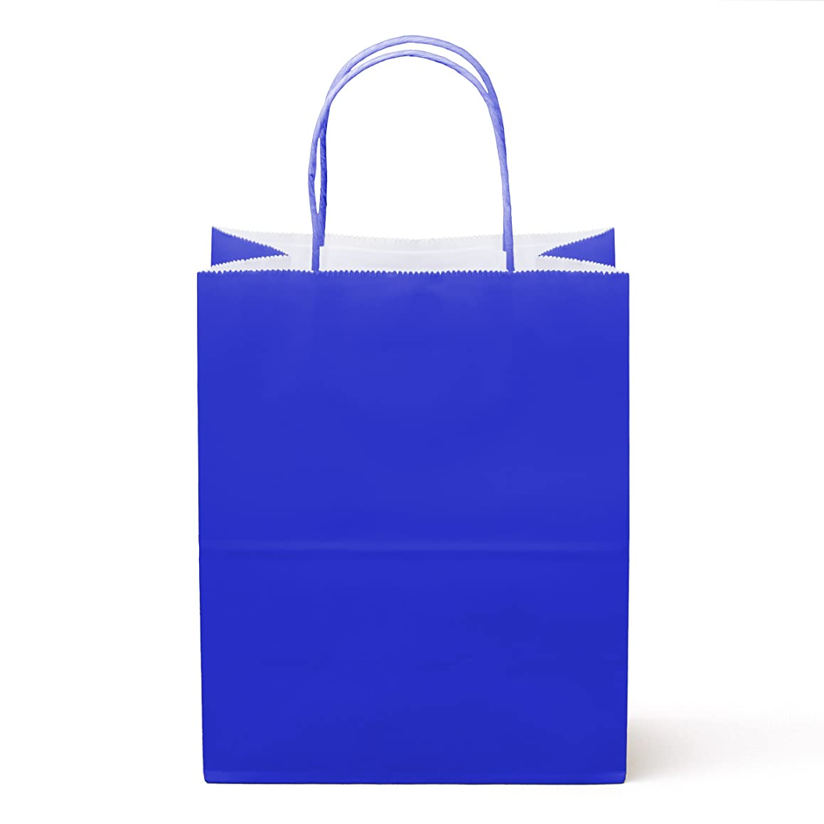 """24 Counts Food Safe Premium Paper and Ink Medium 10"""" X 8"""", Vivid Colored Kraft Bag with Colored Sturdy Handle, Perfect for Goodie Favor DIY Bag, Environmentally Safe (Medium, Royal Blue)"""