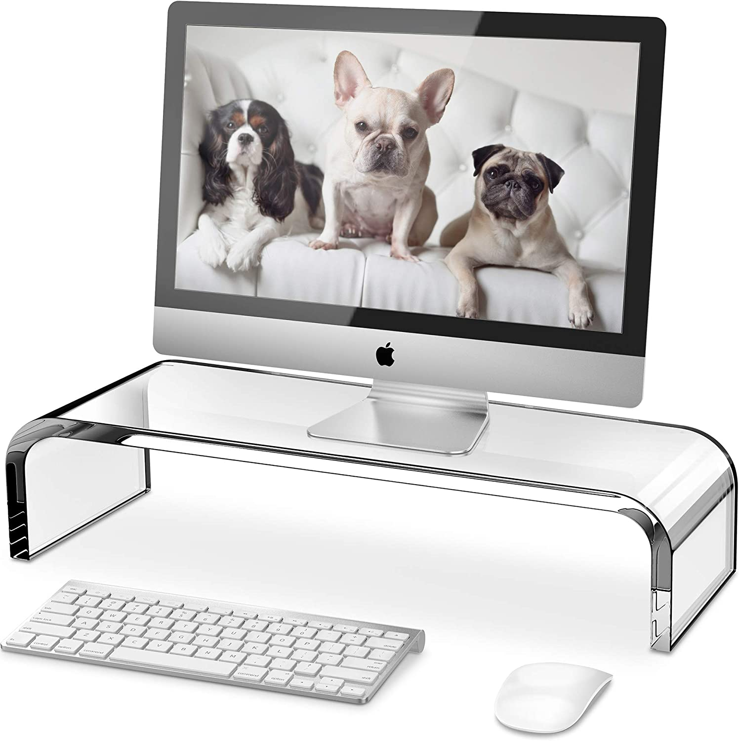 Clear Monitor Riser, QooWare Acrylic Computer Stand - HD Sturdy 50LB Max - Promotes Pain Relief Posture & Free Up Cluttered Space with TV, Laptop & PC Computer & Desk Storage Organizer Stand Riser