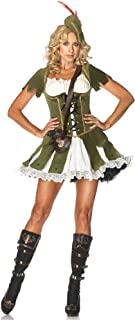 Leg Avenue Women's 3 Piece Thief Of Hearts Peasant Dress And Hat With Feather And Satchel