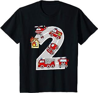 Bambino Camion Pompieri Compleanno 2 Anni Bimbo Vigili del Fuoco Maglietta
