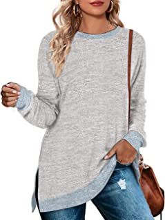 WEESO Women's Long Sleeve Sweatshirts Color Block Crewneck Sweaters Tunic Tops