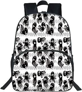 Oobon Kids Toddler School Waterproof 3D Cartoon Backpack, Cartoon Ocean Animals in Various Expressions Sleepy Curious Zigzag Backdrop, Fits 14 Inch Laptop