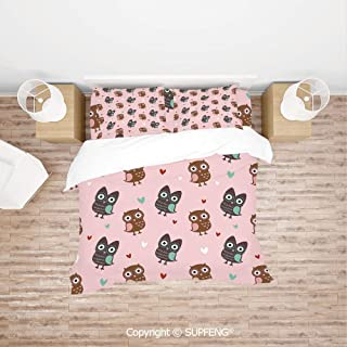 SCOXIXI Bed Cover Set Lovely Owls with Mini Hearts Surrounding Them on a Rose Background Print (Comforter Not Included) Soft, Breathable, Hypoallergenic, Fade Resistant