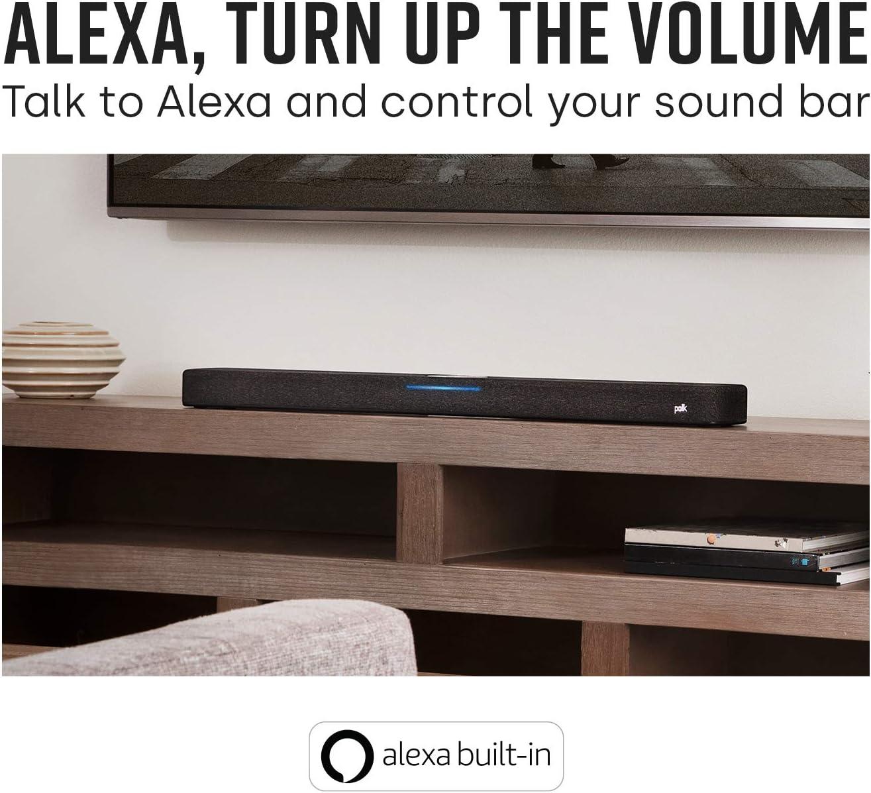 Alexa Compatible Polk React 7 Wireless Subwoofer Bass Adjust EQ Designed to Add Deep Impactful Bass to Polk React Soundbar