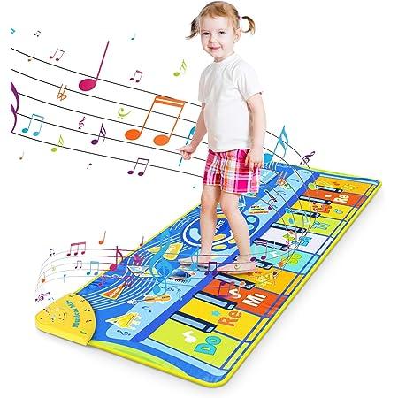 Tapis de Piano pour Enfant, RenFox Tapis de Jeu pour Piano Tapis Musical Bébé Piano Mat Tapis de Danse Musicale Instrument Touch Jeu Clavier Jouets Cadeau pour Garçons Filles 130x48cm