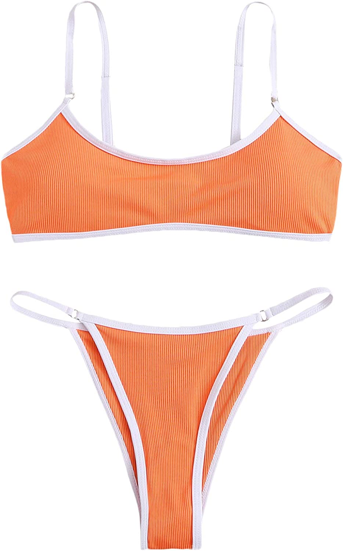 SOLY HUX Women's Spaghetti Strap Contrast Binding Bikini Bathing Suits 2 Piece Swimsuits