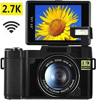 2.7K Digital Camera Vlogging Camera for YouTube 24.0MP Ultra HD WiFi Camera 3.0 Inch 180 Degree Rotation Flip Screen Retractable Flashlight