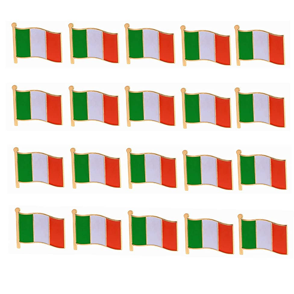TANG SONG 20PCS Italy Country Flag Lapel Pin Enamel Made of Metal Souvenir Hat Men Women Patriotic Italian (Waving Flag Lapel Pin)