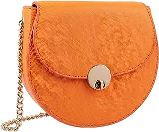 SIX Damen Handtasche, runde Minibag in knalligem Orange mit goldenem Verschluss, Umhängetasche mit Klappverschluss (726-784)