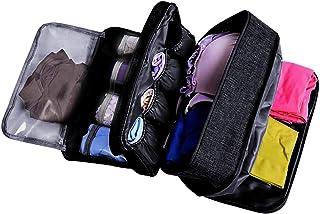 Portable Underwear Bra Storage Bag Waterproof Travel Organizers Multi-Layer Toiletry Packing Cube (black)