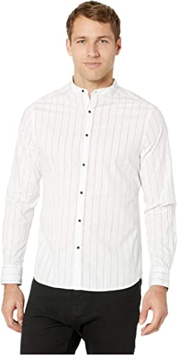 Long Sleeve Pinstripe Collarband Shirt