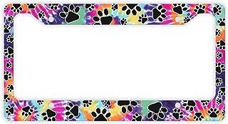 Decorative License Plate Frame Tie Dye Paw Print License Plate Frame Pet Novelty License Plate Frame