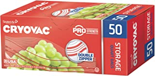 Diversey Cryovac Resealable Double Zipper Quart Storage Bags - 450 Count (9 Packs x 50 Bags)