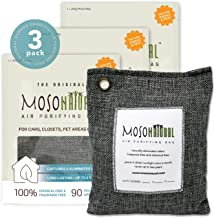 MOSO NATURAL Air Purifying Bags. Odor Eliminator and Odor Absorber. (3) Individually Sealed 200g Charcoal Deodorizer Bags