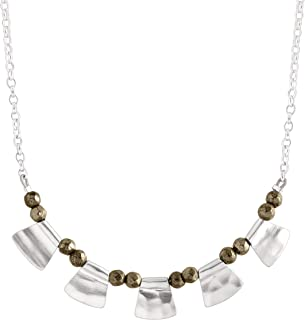 Patterned Pyrite' Natural Pyrite Beaded Necklace in Sterling Silver