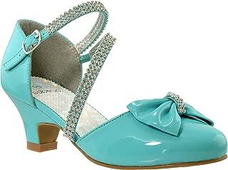Girls Dress Shoes Rhinestone Bow Accent Kitten Low Heel Sandals