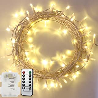 Remote Fairy String Lights Warm White,33ft 10M 100 LED Waterproof Battery Powered Ambiance Lighting With Remote for Indoor,Outdoor,Patio,Lawn,Landscape,Wedding,Christmas